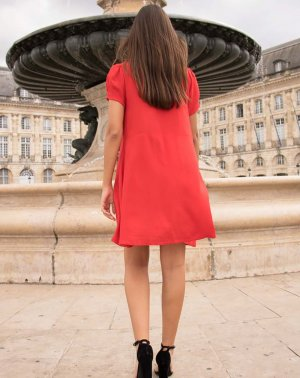 Robe droite Zinna rouge dos