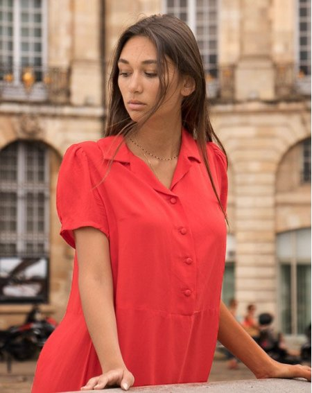 Dress Zinna, short sleeves, plain red