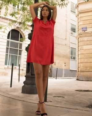 Robe droite Zinna rouge