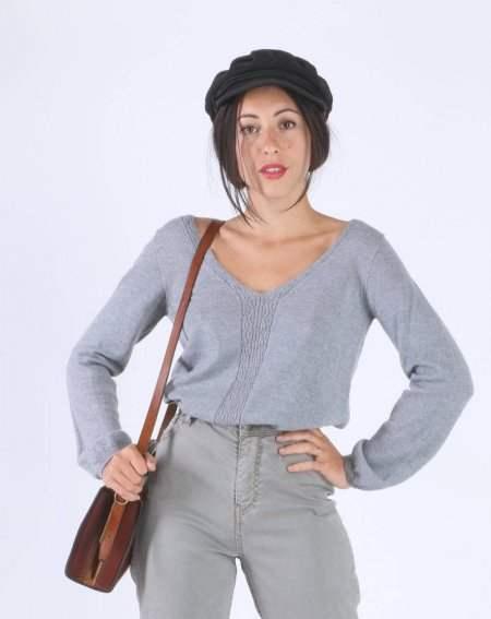 Pullover Zoelie, grau meliert, aus 100 % Merinowolle