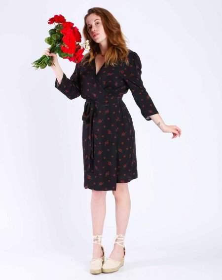 Ziska Robe portefeuille 100% Viscose noir imp roses