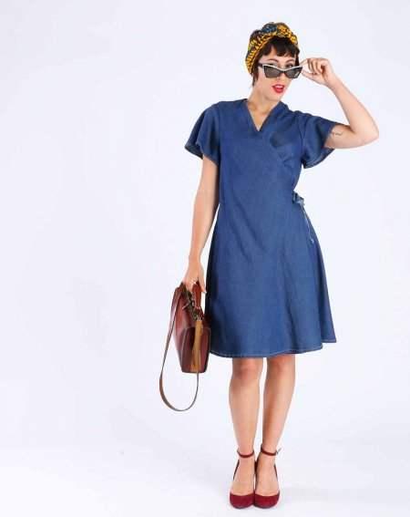 Robe portefeuille Zalaia Lyocell uni bleu jean