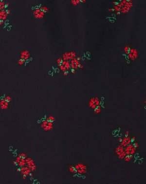 tissu Aatise noir imprimé roses