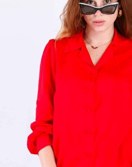 Blouse Zinty Langarm  aus 100% Viscose uni rouge