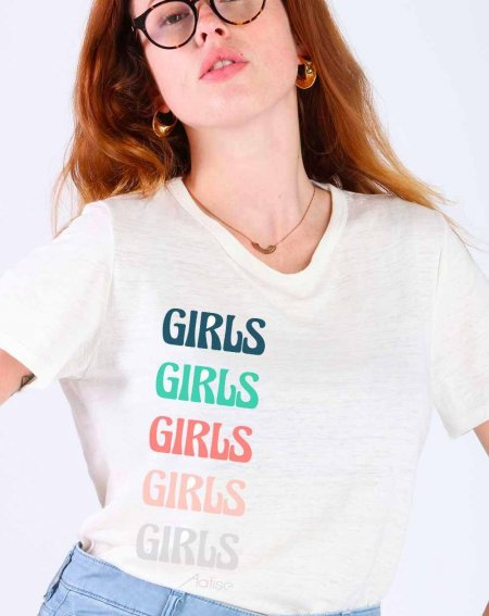 T-shirt Zumoi, 1OO% Lin, Print Girls