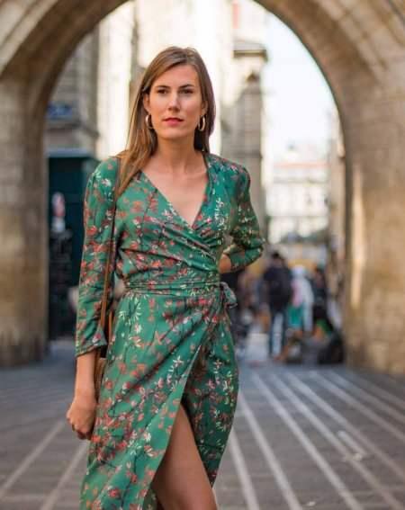 Bedrucktes Wickelkleid Ziska grün im Kimono-Stil 100% Viskose