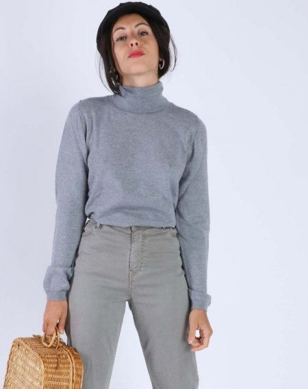 Turtleneck Jumper Zendy 100% Merinos Wool grey