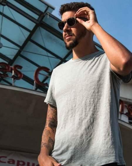 T-Shirt Zumoi 100% Leinen, grau