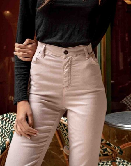 Straight cut Trouser Olaz, in 100% Lyocell and recycled coton, color pink