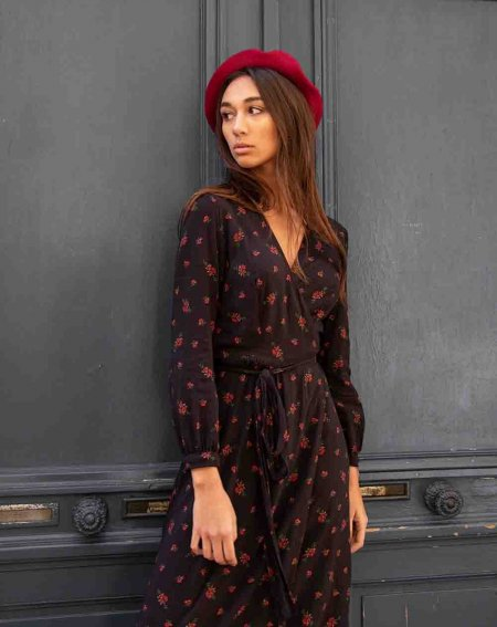 Robe Louise noir imp rouge Aatise