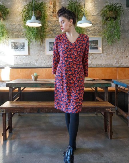 Shift dress Zelda long sleeve 100% Viscose flower print